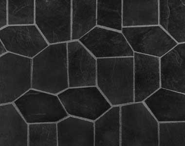 EBONY Black crazy paving on mesh melbourne, sydney